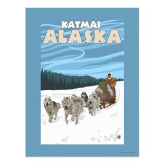 犬のSledding場面- Katmai、アラスカ ポストカード