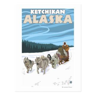 犬のSledding場面- Ketchikan、アラスカ ポストカード