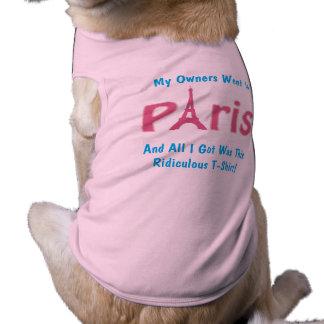 犬のTシャツのエッフェル塔間抜けな犬のワイシャツ ペット服