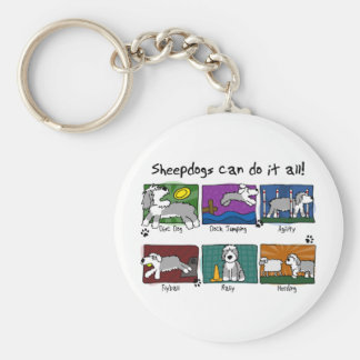 犬は古い英国の牧羊犬を遊ばします キーホルダー