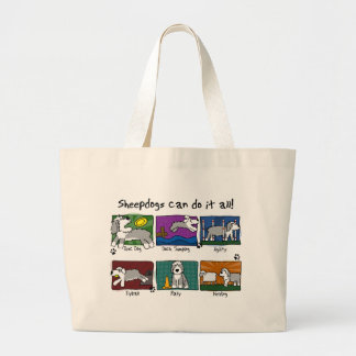 犬は古い英国の牧羊犬を遊ばします ラージトートバッグ