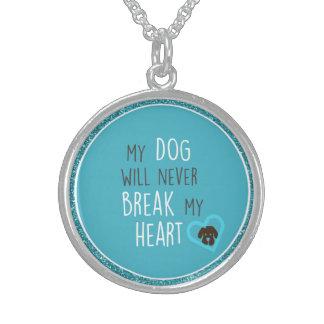 犬は私のハートの優れたな円形のネックレスを壊しません スターリングシルバーネックレス