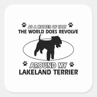犬は私のレークランドテリアのまわりで回転します スクエアシール
