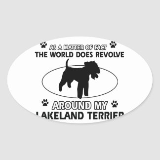 犬は私のレークランドテリアのまわりで回転します 楕円形シール