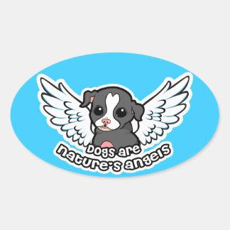 犬は翼との性質の天使の(犬)スタッフォードです 楕円形シール