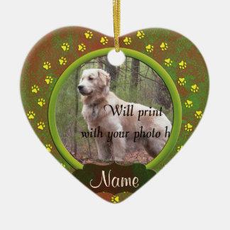 犬または猫の足のプリントの写真のクリスマス セラミックオーナメント