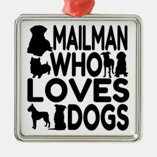 犬を愛する郵便配達員 メタルオーナメント