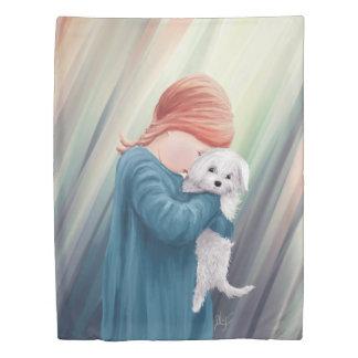 犬を持つかわいい女の子 掛け布団カバー
