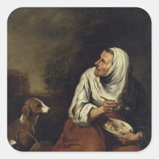 犬を持つ老女 スクエアシール