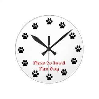 犬を食べ物を与える時間 ラウンド壁時計