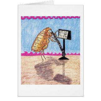 犬ノミアントンはクラリネットを遊びます グリーティングカード