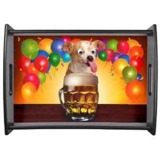犬ビールおもしろいで犬熱狂するで犬かわいい犬ペット犬 トレー