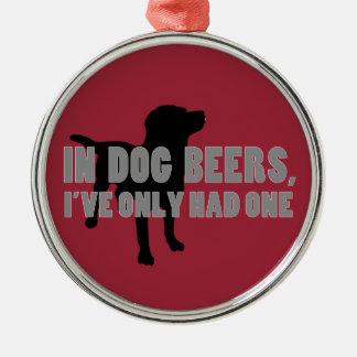 犬ビール冗談 シルバーカラー丸型オーナメント