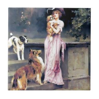 犬ペットを持つビクトリアンな女性 タイル