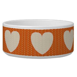 犬ボールのオレンジ白いハートのグリッター 犬のえさ皿