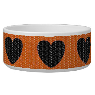 犬ボールのオレンジ黒いハートのグリッター 犬用水皿