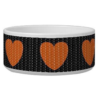 犬ボールの黒のオレンジハートのグリッター 犬のえさ皿