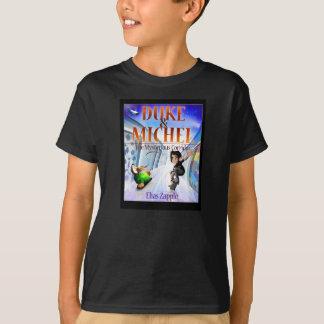 犬及びスケートボーダーの黒いティー Tシャツ