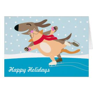 犬及び薄氷のスケートで滑る幸せな休日 グリーティングカード