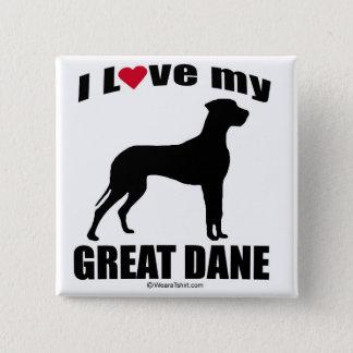 """""""犬品種""""の-グレートデーン- """"私は愛します私のグレートデーン""""を 5.1CM 正方形バッジ"""