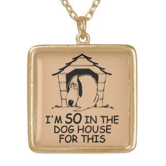 犬小屋カスタムな色のネックレス ゴールドプレートネックレス
