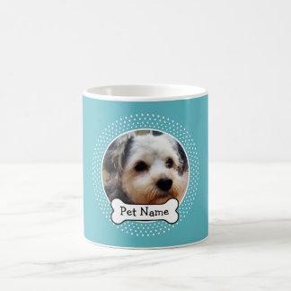 犬用の骨および青い水玉模様ペット写真フレーム コーヒーマグカップ