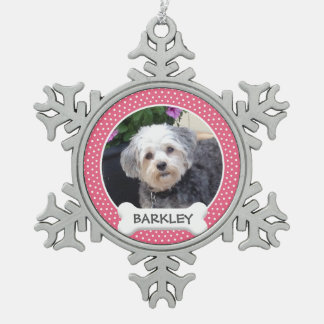 犬用の骨を搭載する名前入りなペット写真 スノーフレークピューターオーナメント
