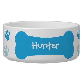 犬用の骨及び足のプリントの名前入りな飼い犬ボール 犬の水皿