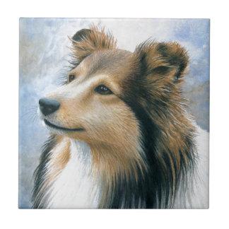 犬122のシェットランド・シープドッグのコリー タイル