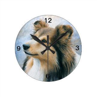 犬122のシェットランド・シープドッグのコリー ラウンド壁時計
