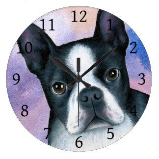 犬128のボストンテリアのピンクの青の背景 ラージ壁時計