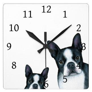 犬128の白黒のボストンテリア スクエア壁時計