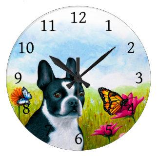 犬134のボストンテリアの蝶花 ラージ壁時計