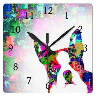 犬135のボストンテリア スクエア壁時計