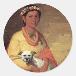 犬、キャンバスの絵画の油を持つハワイの女の子 ラウンドシール
