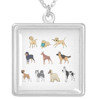 犬 シルバープレートネックレス