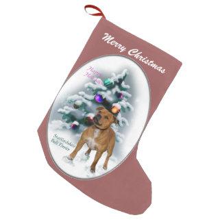 (犬)スタッフォードのブルテリアのクリスマス スモールクリスマスストッキング