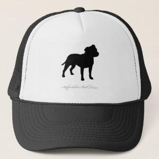 (犬)スタッフォードのブルテリアのシルエット キャップ