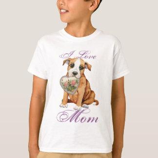 (犬)スタッフォードのブルテリアのハートのお母さん Tシャツ