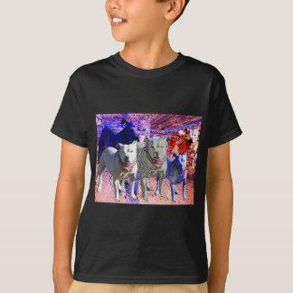 (犬)スタッフォードのブルテリアの英国国旗のバンダナ Tシャツ