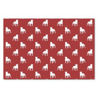 (犬)スタッフォードのブルテリアはパターン赤のシルエットを描きます 薄葉紙