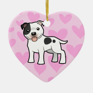 (犬)スタッフォードのブルテリア愛(あなたのメッセージを加えて下さい) セラミックオーナメント