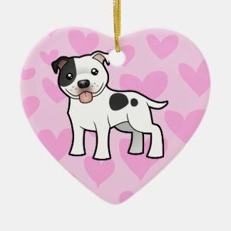 (犬)スタッフォードのブルテリア愛 セラミックオーナメント