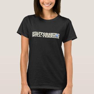 (犬)スタッフォードのブルテリア- Tシャツcream/ltの青 Tシャツ