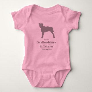 (犬)スタッフォード及びテリアのベビーの体のスーツ-カスタマイズ ベビーボディスーツ