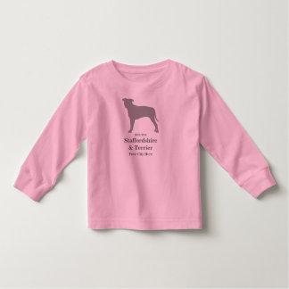 (犬)スタッフォード及びテリアのベビーのTシャツ-カスタマイズ トドラーTシャツ