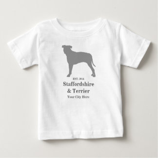 (犬)スタッフォード及びテリアのベビーのTシャツ-カスタマイズ ベビーTシャツ