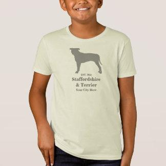 (犬)スタッフォード及びテリアの幼児のTシャツ-カスタマイズ Tシャツ