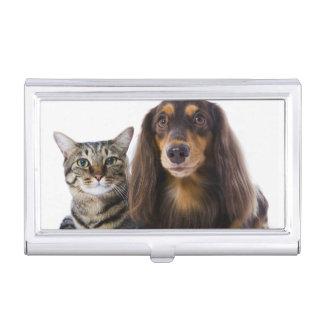 犬(ダックスフント)および白の猫(日本のな猫) 名刺入れ