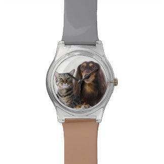 犬(ダックスフント)および白の猫(日本のな猫) 腕時計